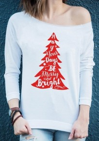 White-Red Patchwork Monogram Christmas Tree Print Boat Neck One-shoulder Casual Oversized T-Shirt