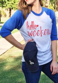 Blue Monogram Round Neck Long Sleeve Casual T-Shirt
