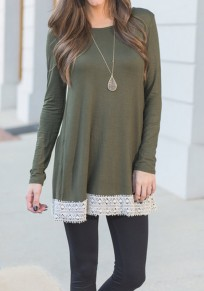 Army Green Patchwork Lace Round Neck Long Sleeve T-Shirt
