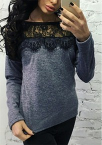 Grey Patchwork Hollow-out Lace Long Sleeve T-Shirt
