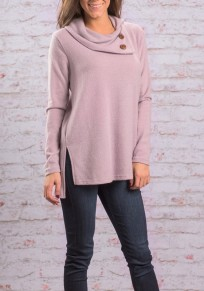 Pink Plain Irregular Side Buttons Cowl Neck Side Slit Casual Knit T-Shirt