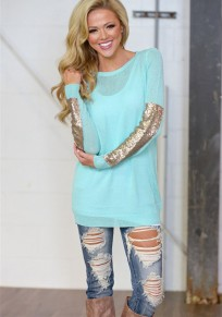 Lake Blue Patchwork Sequin Round Neck Long Sleeve Casual T-Shirt