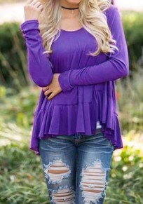 Purple Plain Pleated Round Neck Casual Cotton T-Shirt