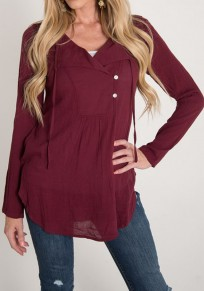 Wine Red Plain Drawstring Buttons V-neck Long Sleeve T-Shirt