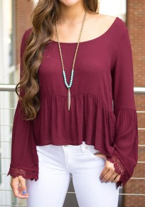 Wine Red Patchwork Lace Scoop Neck Fashion Cotton T-Shirt