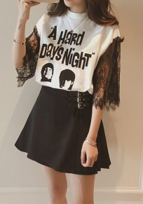 White Monogram Figure Patchwork Lace Hollow-out Print Half Sleeve Casual T-Shirt