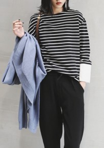 Black Striped Patchwork Print Round Neck Long Sleeve Casual T-Shirt
