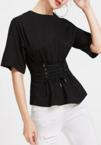 Black Drawstring Round Neck Elbow Sleeve Fashion T-Shirt