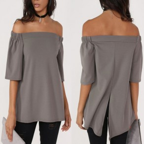 Grey Slit Off-Shoulder Boat Neck Elbow Sleeve T-Shirt