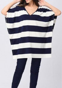 Sapphire Blue-White Striped Tie Back Cut Out Short Sleeve Casual T-Shirt