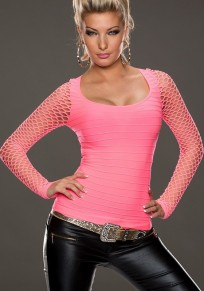 Pink Patchwork Cut Out Long Sleeve Casual T-Shirt