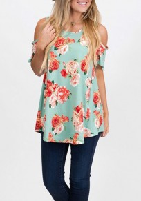 Green Floral Cut Out Off Shoulder Draped Short Sleeve Casual T-Shirt