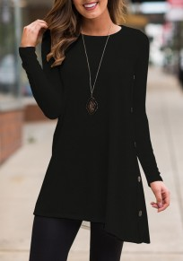 Black Buttons Draped Irregular Long Sleeve Casual T-Shirt