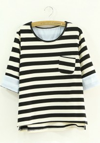 Black Striped Pockets Half Sleeve Loose T-Shirt