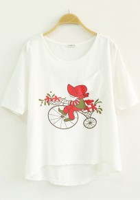 White Cartoon Print Short Sleeve Loose T-Shirt