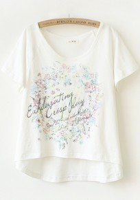 White Print Irregular Short Sleeve T-Shirt