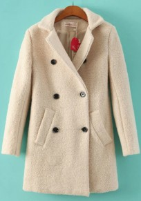 Beige Plain Pockets Wool Coat