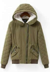 Green Plain Drawstring Hooded Padded Coat