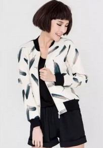 White Patchwork Feathers Print Pockets Trench Coat