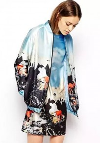 Multicolor Cartoon Print Trench Coat