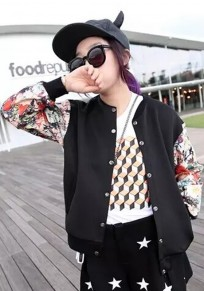 Black Patchwork Print Trench Coat