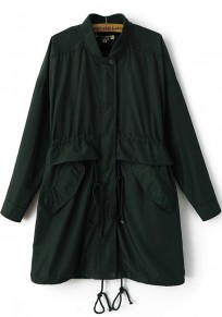 Dark Green Plain Drawstring Trench Coat