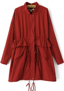 Bright Red Plain Drawstring Trench Coat