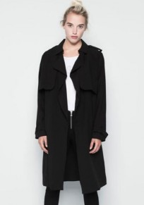Black Plain Belt Trench Coat