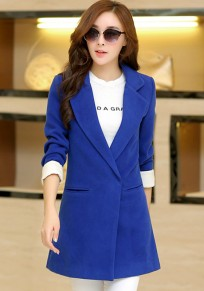 Blue Plain Pockets Turndown Collar Wool Coat
