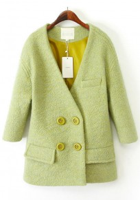 Green Plain Buttons Tweed Coat