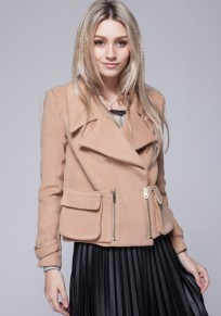 Khaki Plain Pockets Wool Coat