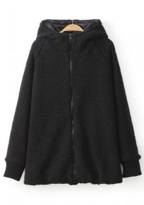 Black Plain Hooded Coat