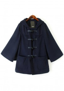 Navy Blue Plain Hooded Cape