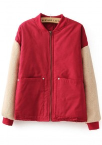 Red Patchwork Pockets 2-in-1 Padded Coat