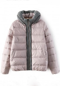 Light Pink Plain Patchwork Padded Coat