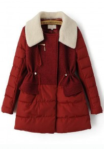 Red Plain Drawstring Patchwork Padded Coat
