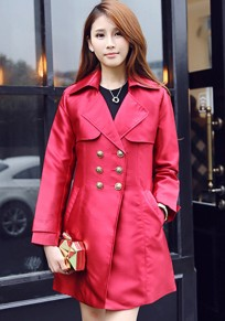 Red Plain Double Breasted Trench Coat