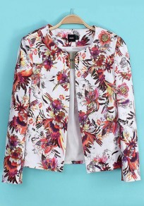 Multicolor Flowers Zipper Cotton Trench Coat