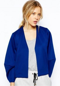 Dark Blue Plain Puff Sleeve Trench Coat