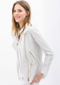 White Plain Zipper Long Sleeve Trench Coats