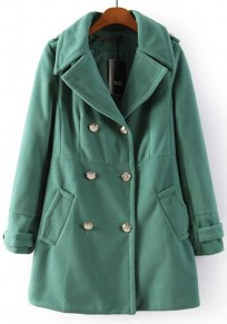 Green Plain Buttons Wool Coat