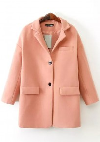 Pink Plain Pockets Seven's Sleeve Wool Coat