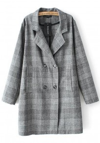 Dark Grey Plaid Pockets Trench Coat