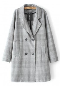 Light Grey Plaid Pockets Trench Coat