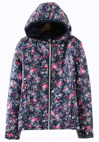 Blue Flowers Print Collar With Hat Padded Coat