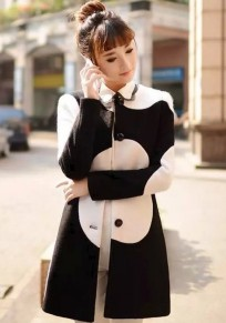 Black-White Patchwork Single Breasted Wool Coat