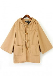 Camel Plain Pockets Collar With Hat Cape