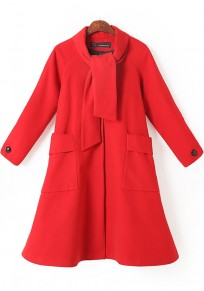 Red Plain Pockets Wool Coat