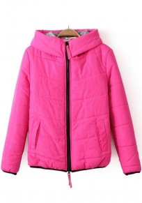 Rose-Carmine Plain Hooded Padded Coat