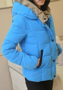 Blue Plain Collar With Hat Padded Coat